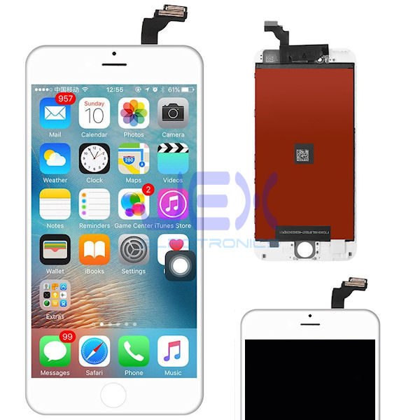 White iPhone 6 Plus Full Front Digitizer Touch Screen and LCD Assembly Display