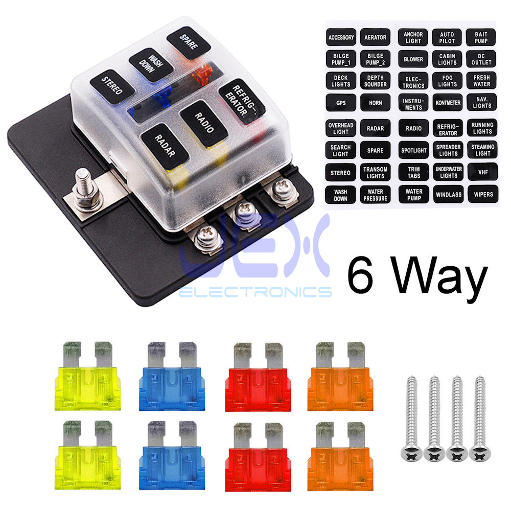 6-Way ATC ATO Blade Fuse Box Holder Power Block Distribution for Car RV Trailer Boat 12V