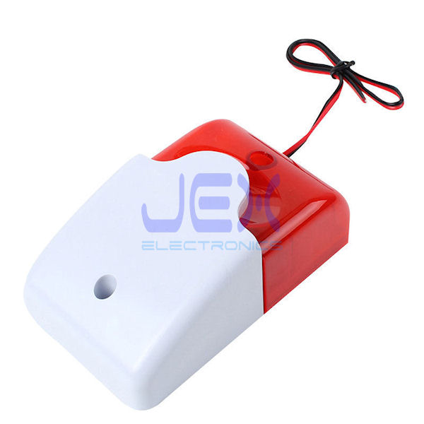 Add-on 115dB 12V Wired Indoor Siren with Strobe Light Alarm
