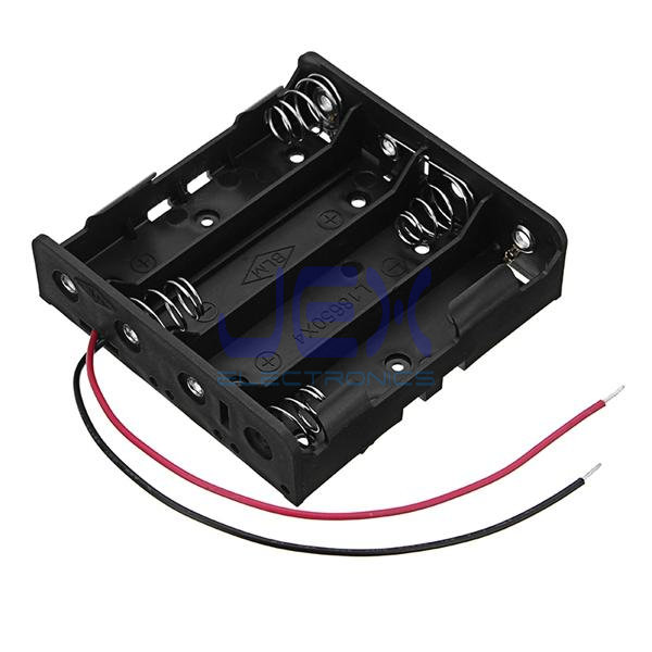 Quad/4X 18650 3.7V DIY Battery Holder Case Box Base 14.8V PCB Mount With Bare Wire Ends