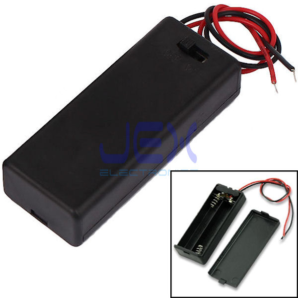 Twin/2X AAA DIY Battery Holder Case Box 3V With Power Switch & Bare Wire Ends