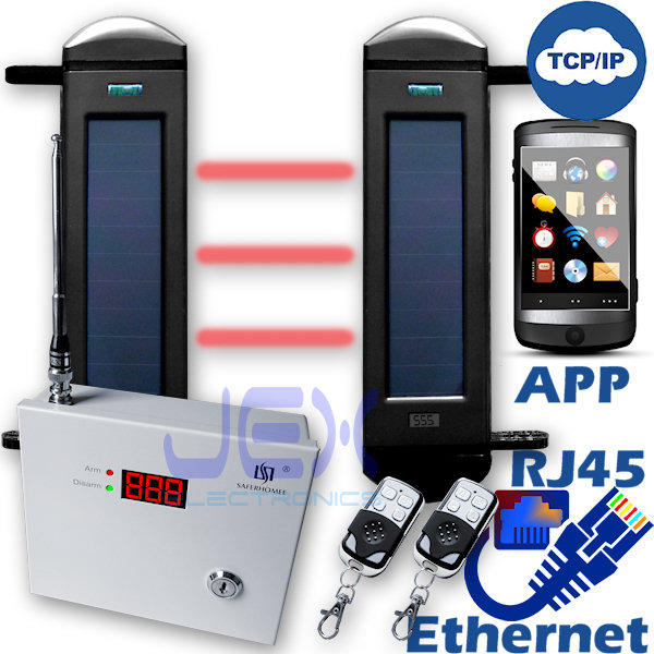 Advanced TCP/IP RJ45 Ethernet Internet Network IR Break Beam Sensor Solar Powered Wireless Perimeter Security Alarm System Outdoor/in