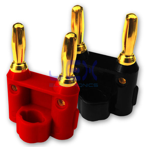 Twin Dual 4mm Banana Plug Set Connector Red/Black Positive/Negative upto 2X 12AWG Gold Plated