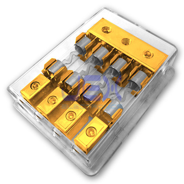 4-Way/4X AGU In-Line Fuse Holder Power Distribution Block Stereo/Audio/Car 10A-100A