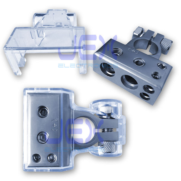 Positive Battery Terminal Power Distribution Connector with 2X 4ga and 2X 8ga output + Protective Cover for Car/boat/RV