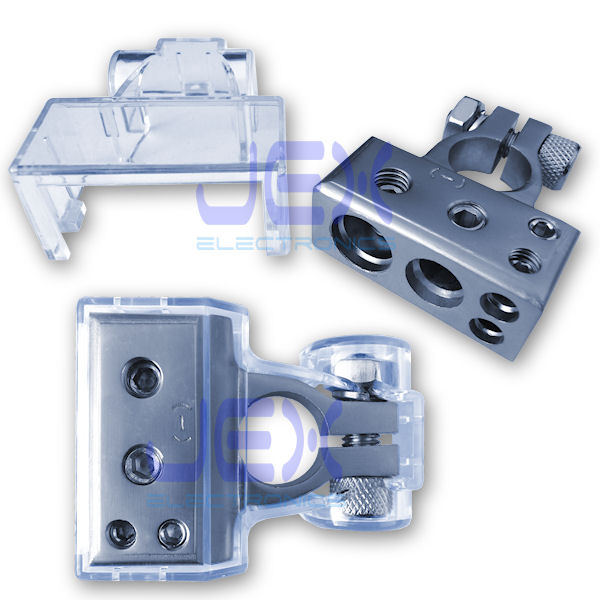 Negative Battery Terminal Power Distribution Connector with 1/0ga, 4ga and two 8ga output + Protective Cover for Car/boat/RV
