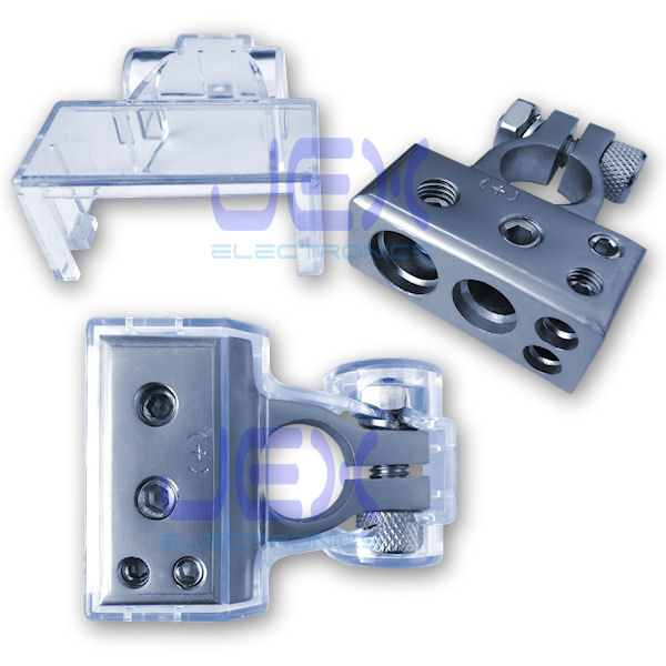 Positive Battery Terminal Power Distribution Connector with 1/0ga, 4ga and two 8ga output + Protective Cover for Car/boat/RV