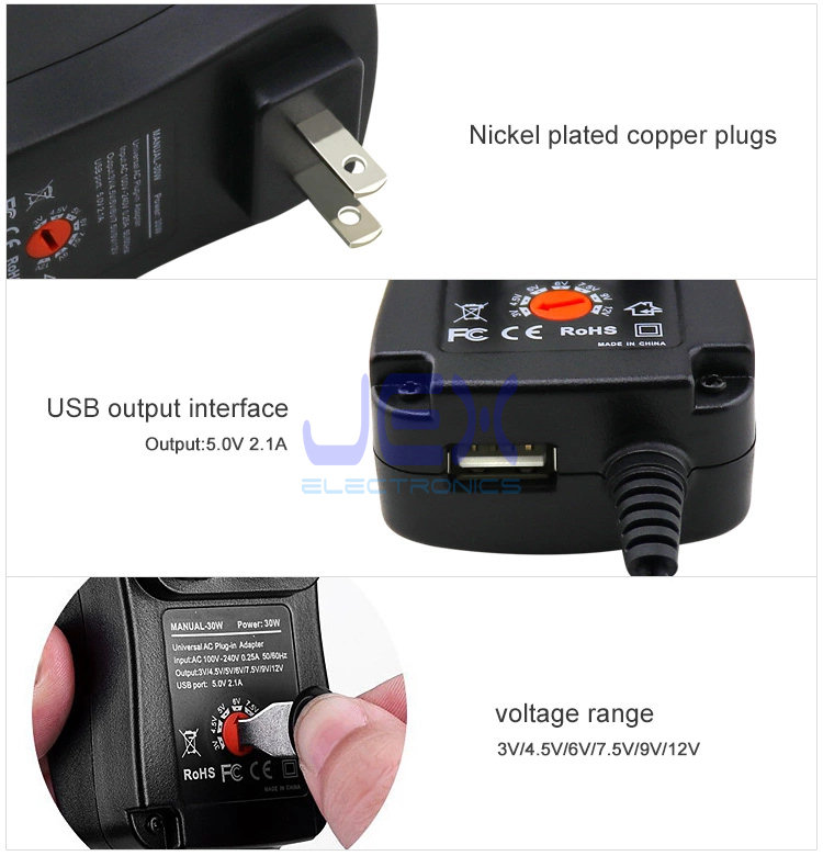 30W Universal Power Adapter 3V, 4.5V, 5V, 6V, 7.5V, 9V and 12V + 2.1A USB Quick Charge
