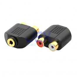 "Twin 2X Female RCA to Female Stereo 3.5mm 1/8""  Jack Adapter Audio Splitter Gold Plated"