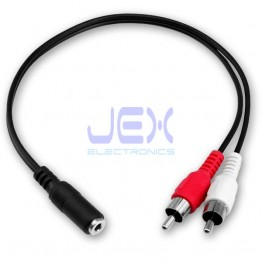"Female 3.5mm 1/8"" Stereo to Twin 2x Male RCA Phono Jack Adapter Cable Converter"