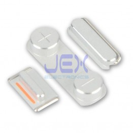 Silver Button Set For White iPhone 5, 5S or SE Volume, Silent/Mute Switch Power on/off