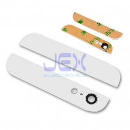 White Rear Top/Bottom Glass with Camera lens + Glue for Iphone 5 Upper Lower