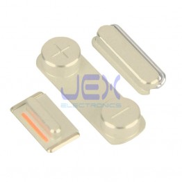 Champagne Gold Button Set For Gold iPhone 5S or SE Volume, Silent/Mute Switch Power on/off