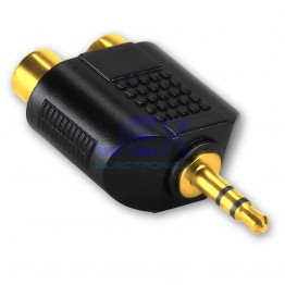 "Twin 2X Female RCA to Male Stereo 3.5mm 1/8""  Jack Adapter Audio Splitter Gold Plated"