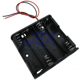 Quad/4X AA Flat DIY Battery Holder Case Box Base 6V Volt PCB Mount With Bare Wire Ends