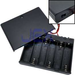 6X AA DIY Battery Holder Case Box 7.2V/9V With Power Switch & Bare Wire Ends