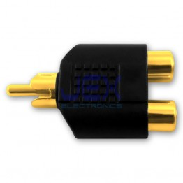 Twin 2-way Female RCA Phono to Male RCA Splitter Adapter for Audio Video Gold Plated