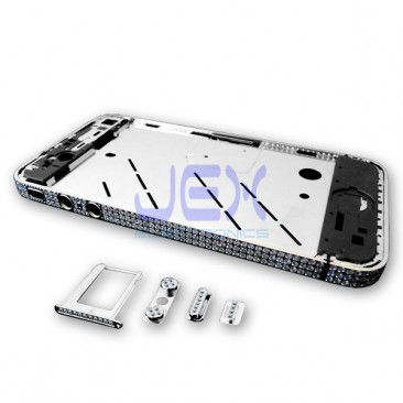Crystal/Diamond Silver Midframe Mid Frame Bezel Chassis For iPhone 4S